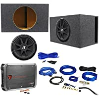 Package: KICKER 43C154 Comp 15 600 Watt Car Subwoofer With Single Voice Coil + Car Amplifier + RRCA Cable + Sub Enclosure + Speaker Wire + Screws + Spade Terminals