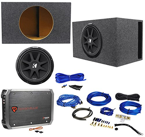 Package: KICKER 43C154 Comp 15″ 600 Watt Car Subwoofer With Single Voice Coil + Car Amplifier + RRCA Cable + Sub Enclosure + Speaker Wire + Screws + Spade Terminals
