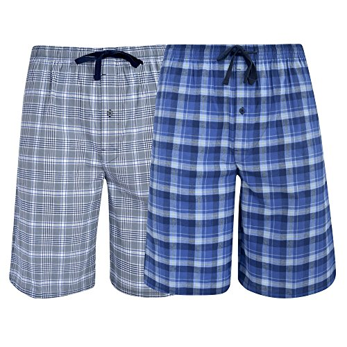 Hanes Men's  Big Men's Woven Stretch Pajama Shorts  2 Pack Blue  Grey Large -