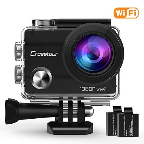 Crosstour Action Camera Underwater Cam WiFi 1080P Full HD 12MP Waterproof 30m 2' LCD 170°Wide-angle Sports Camera with 2 Rechargeable 1050mAh Batteries and Mounting Accessory Kits