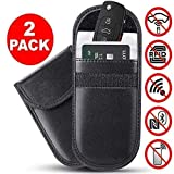 Car Key Signal Blocker Pouch Faraday Bag Case Pouch for Key Less Entry Car Fobs, Anti Theft Faraday Pouch Protector Wallet for Car Keys Credit Cards Block Signal RFID/WiFi/NFC- Black Pack of 2