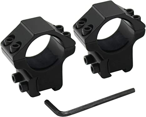 2 x Tactical Low Profile 25.4mm Scope Rings 20mm Picatinny Weaver Rail Mount