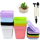 Robeu 16PCS Plastic Plant Pots with Saucer, Flower Pot, 3 sets Planting Tools as Gift, 7 Colors