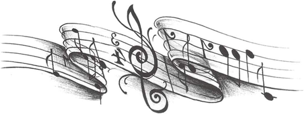 Tatuajes temporales de partición de notas musicales, para hombre y ...