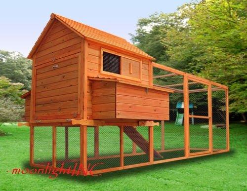 12FT-Huge-Wood-2-Nesting-Box-Chicken-Coop-Chick-Rabbit-Hutch-Hen-House