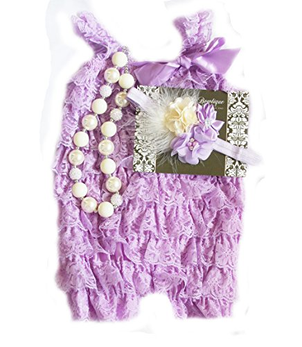 Baby Girl Lace Romper Set- Baby Birthday Outfit Cake Smash Photo Prop by Pretty Baby Bowtique (18months-3T, Lavender and Ivory/Cream)