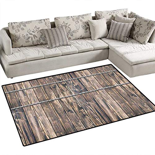 Plank Century - Wooden Anti-Static Area Rugs Rustic Wooden Long Farmhouse Themed Planks with Screws and Lines Nature Art Children Kids Nursery Rugs Floor Carpet 40