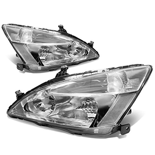 - For 03-07 Honda Accord Pair of Chrome Housing Clear Corner Replacement Headlights/Lamps