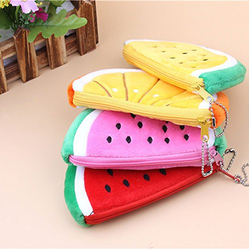 Finedayqi  Lovely Watermelon Coin Bag Purse Wallet Pencil Case Plush Large Pen Bag for Kids