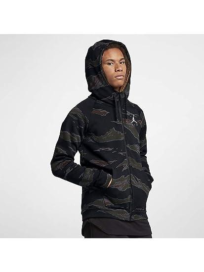 313e1127284c Nike Jordan Jumpman Fleece Camo Men s Full-Zip Hoody - Size XL - Color  Black  Amazon.co.uk  Clothing