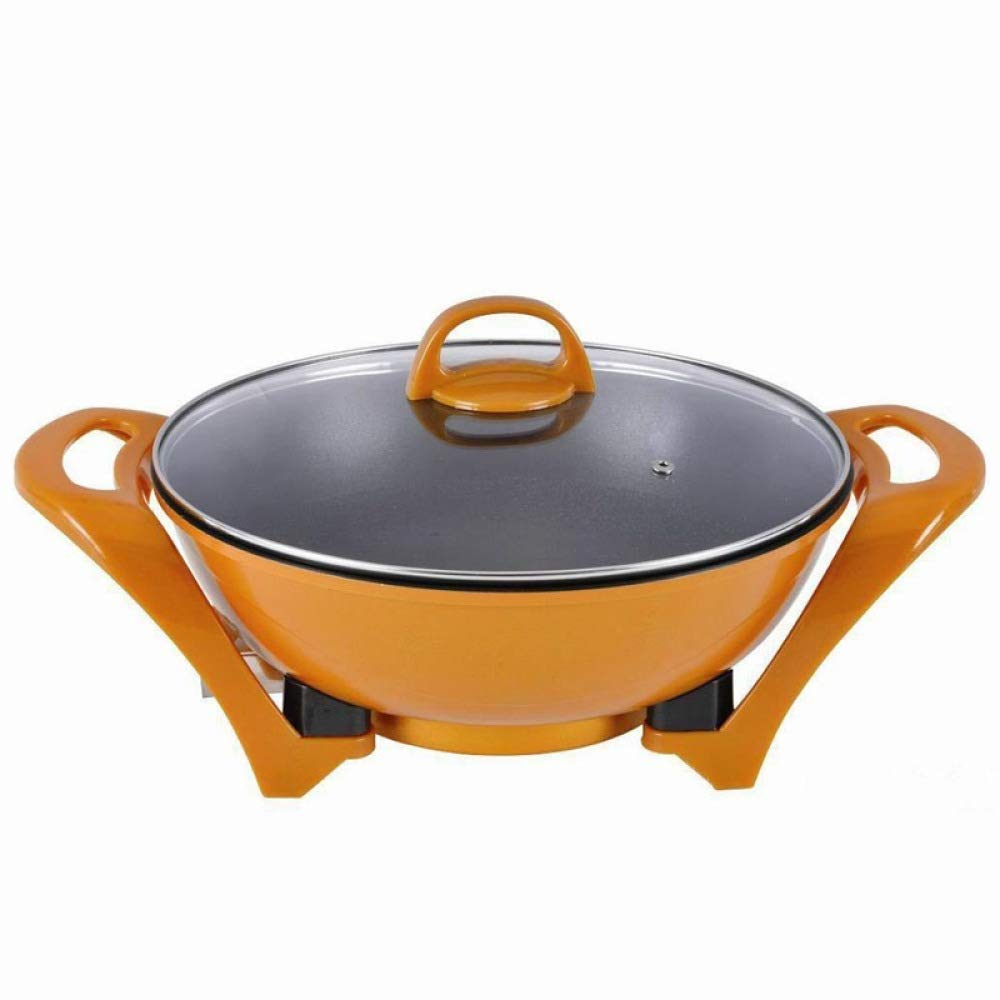 WSJTT Large Multi Cooker | Electric Frying Pan with Glass Lid,Multi-Function Barbecue Pot Household Electric Hot Pot Electric Baking Pan Grilling Machine 34cm Non-Stick Surface and Cool Touch Handles