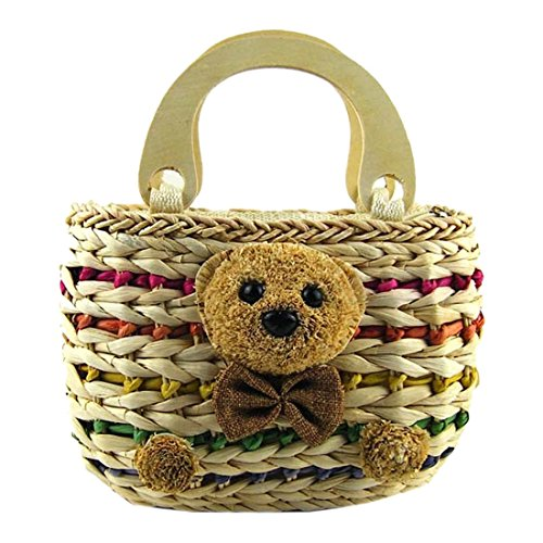 Bags Colored Animals Women New Wooden Straw Carry Casual Handle Woven Zipper Bags xFYxqw1U