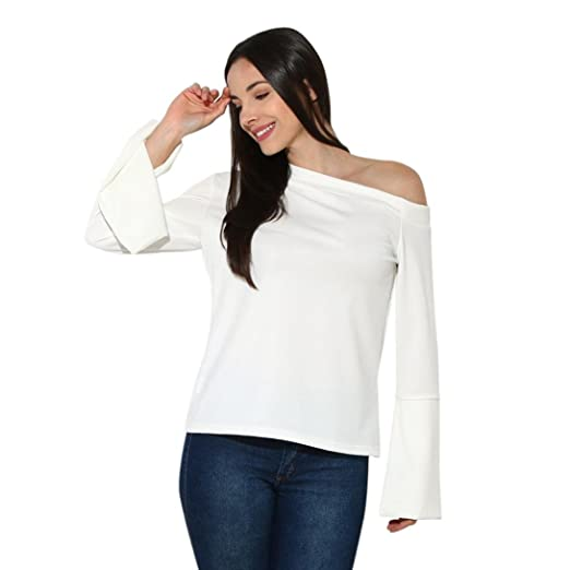 0c588b6a TOPUNDER Women White Blouse Flare Long Sleeve Shirt Solid Pure Off Shoulder  Sexy Top by at Amazon Women's Clothing store: