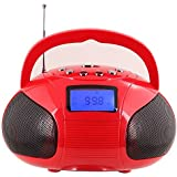 August SE20 - Portable Alarm Clock Radio with Bluetooth Speaker - Mini MP3 Stereo System with Card Reader / USB and AUX in / 2x3W Stereo Speakers / Rechargeable Battery