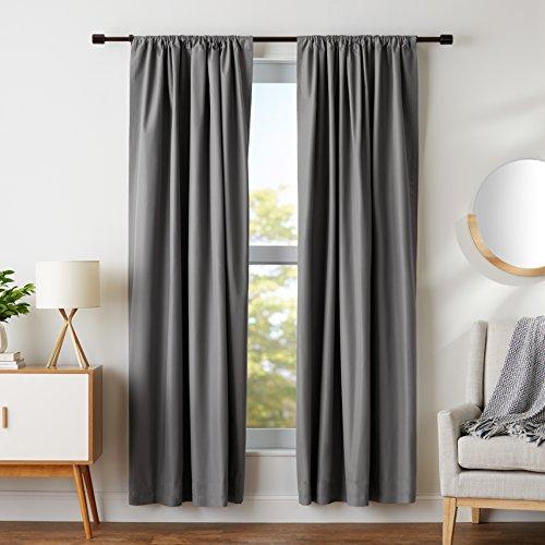 AmazonBasics Blackout Curtain Set - 52 x 84, Dark Grey