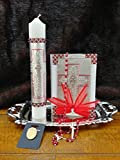 Holy Spirit Silver & Red , Decorated Candle and Book With Elegant Hand Made Rosary. Confirmation Set