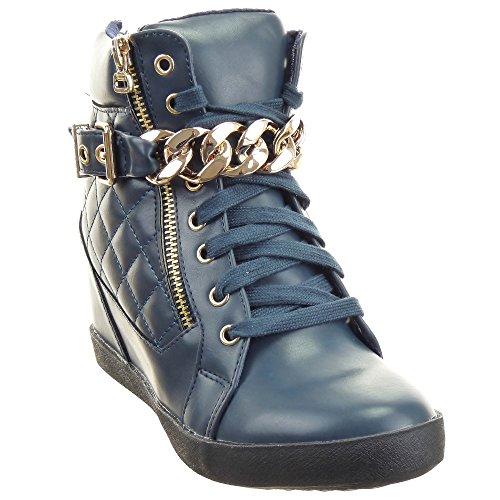Sopily - Scarpe da Moda formatori zeppa donna trapuntata Catena Tacco zeppa 8 CM - soletta tessuto - Blu
