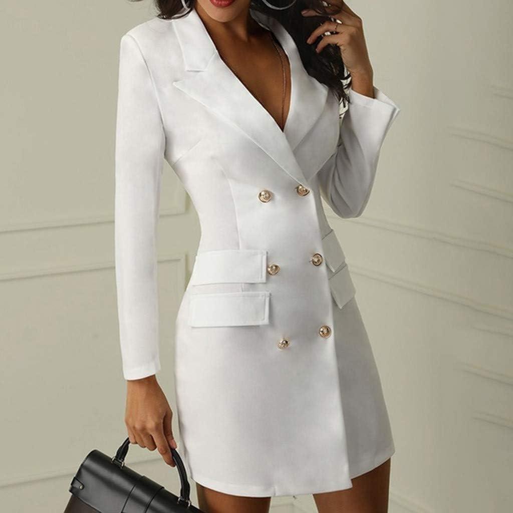 Toimothcn Womens Double Breasted Blazer Dress Lapel Collar Elegant Long Sleeve OL Blazer Suit Dress