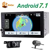 Front & Backup Camera included! Android 7.1 nougat Octa-core Car NO-DVD Player Double Din Car Stereo with GPS Navigation In Dash Bluetooth WiFi AM FM Radio Audio System Support Mirrorlink Bluetooth Wi