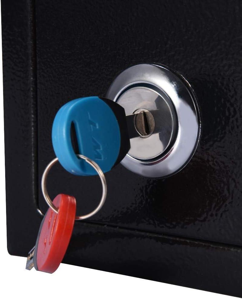 Joyas Documentos Caja de Seguridad antirrobo para Dinero 23 x 17 x 17.3 cm Ausla Caja Fuerte de Seguridad de Acero con Llaves