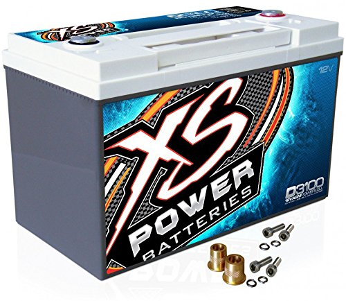 XS Power D3100 12V AGM 5000A Car Audio Battery/Cell+FREE 580 Top-Post Terminals by XS Power