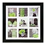 Kiera Grace Langford Picture Frame, 14 by 14-Inch Matted For 9- 4 by 4-Inch Photo, Black