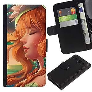 NEECELL GIFT forCITY // Billetera de cuero Caso Cubierta de protección Carcasa / Leather Wallet Case for Samsung Galaxy S3 III I9300 // Redhead atractivo