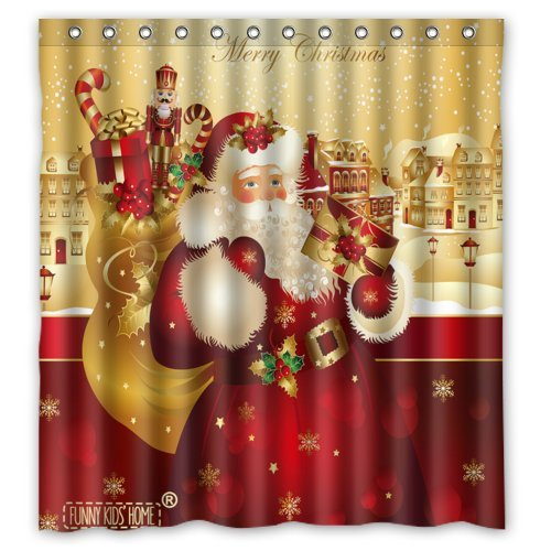 Shower Curtain for Christmas - Lovely Vintage Santa Claus with Gifts X-mas Decorations - Fashion Personalized Bathroom Curtains Waterproof Polyester Fabric 66(w)x72(h) Rings Included Funny Kid's Home c3193