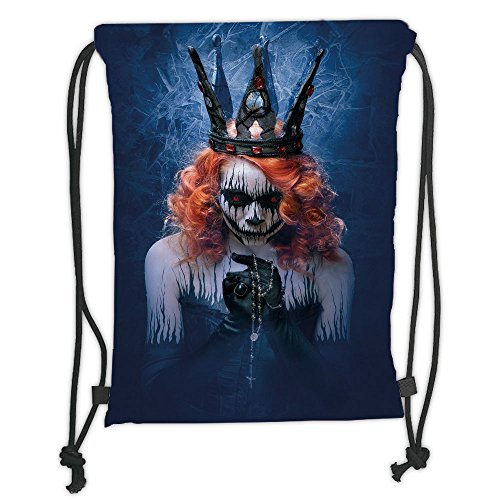 Custom Printed Drawstring Sack Backpacks Bags,Queen,Queen of Death Scary Body Art Halloween Evil Face Bizarre Make Up Zombie,Navy Blue Orange Black Soft Satin,5 Liter Capacity,Adjustable String Closur -