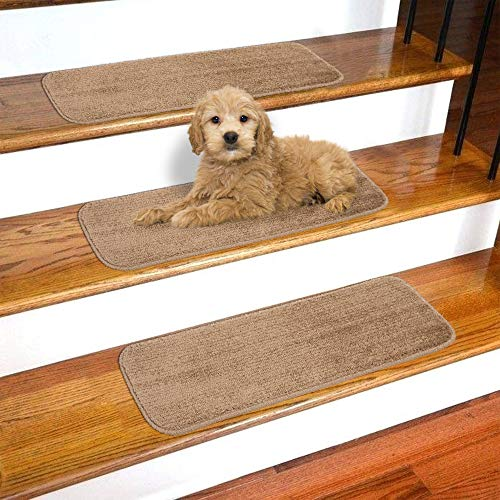Ottomanson Softy Solid Beige Camel Hair Set of 14 Skid Resistant Rubber Backing Non Slip Carpet (9