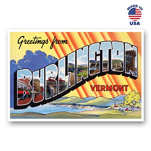 GREETINGS FROM BURLINGTON, VT vintage reprint postcard set of 20 identical postcards. Large Letter Burlington, Vermont city name post card pack (ca. 1930's-1940's). Made in USA. -