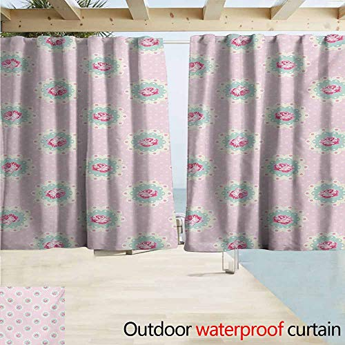 Outdoor Waterproof Curtains,Shabby Chic Retro Style Polka Dotted Backdrop and Floral Motifs Roses Cottage,Rod Pocket Energy Efficient Thermal Insulated,W72x45L Inches,Baby Pink White Seafoam