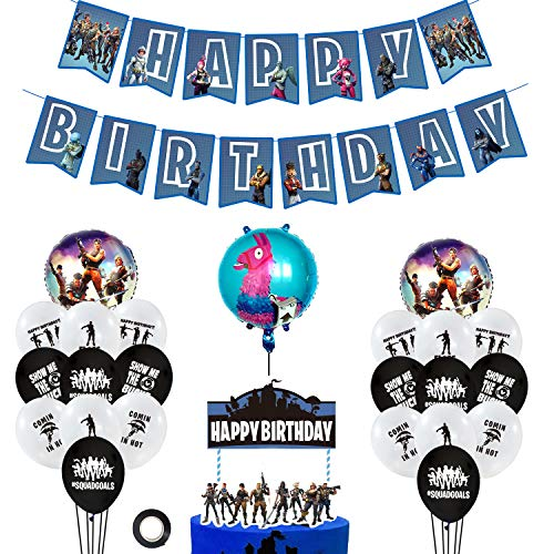 (URBAN NIRVANA Party Supplies Set | Happy Birthday Cake Topper Foil & Latex Balloons | Video Game Theme Decorations Supply Kit for Adults, Teens, Boys, Girls and Kids)