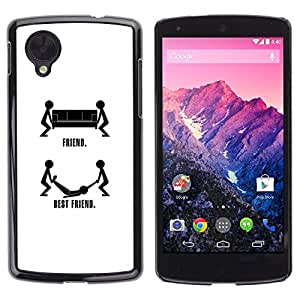 Slim Design Hard PC/Aluminum Shell Case Cover for LG Google Nexus 5 D820 D821 Friendship Quote Best Friend Stickman Black / JUSTGO PHONE PROTECTOR