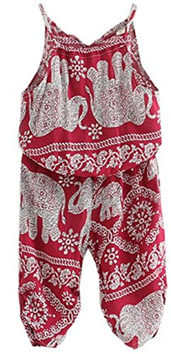 Girl Summer Toddler Cute Elephant Printed Casual Jumpsuits Apparel Pants (11, (Doc Mcstuffins Halloween Special)