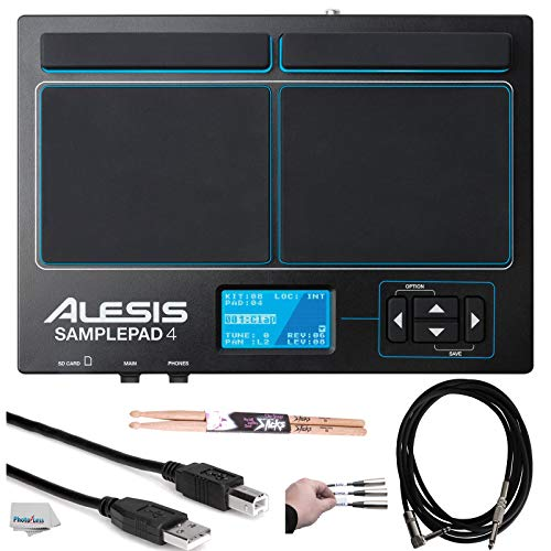 Alesis SamplePad 4 | Compact 4-Pad Percussion and Sample-Triggering Instrument with SD Card Slot + Pair of Drumsticks + Peel-Off Labels + Clean Cloth + Assorted Cables Bundle -