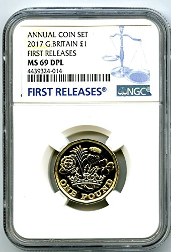 (2017 UK GREAT BRITAIN NEW 12 SIDED £1 POUND FIRST RELEASES DEEP PROOF LIKE ANNUAL DPL PD MS69 NGC )