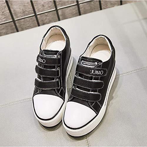 de Punta Mujer Verano de Primavera Zapatos Zapatillas de Vaca cuña Blanca Confort ZHZNVX de Piel Black Redondo Negro qRPwwC6