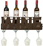 """Besti Premium Brown Wall Mount Metal Wine Rack With """"Wine"""" Word By Hanging Horizontal Bottle Holder Storage Decorative Display – Sturdy Construction –Home Décor For Living Room Or Kitchen"""