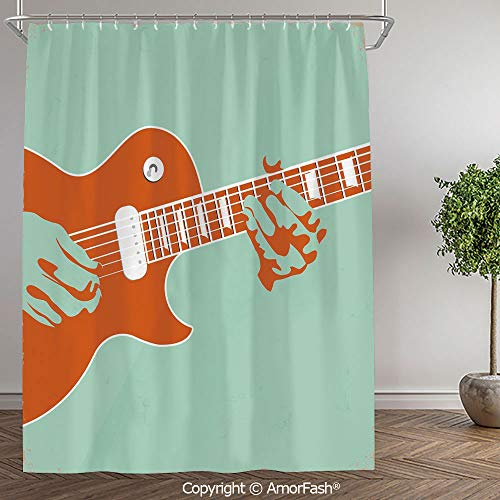 SCOCICI Guitar,Decorative Bathroom Accessories Machine Washable Curtains,Small Size,60 x 72 Inch,Creative Musician Playing Jamming Instrument Acoustic Performing Vintage,Mint Green Orange (Best Performing Washer And Dryer 2019)