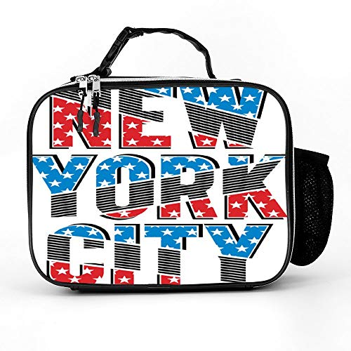Welkoom Lunch Bag With New York City Stars Spacious Insulated School Lunch Box|Durable Thermal Lunch Cooler Pack With Strap For Boys Men Women Girls