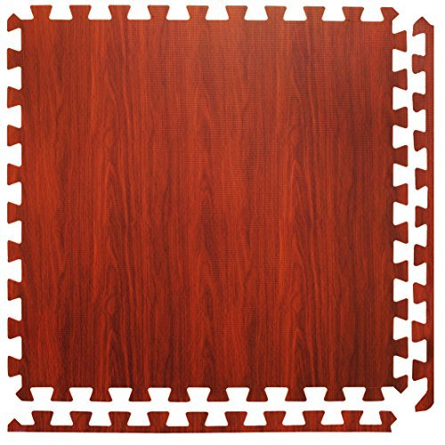 4 Large Brown Wood Effect Interlocking Foam Mats with edges - Perfect for Floor Protection, Garage, Exercise, Yoga, Playroom. Eva foam (4 tiles, Chocolate - Each tile = 24 x 24in) by For the Love of Home Leisure