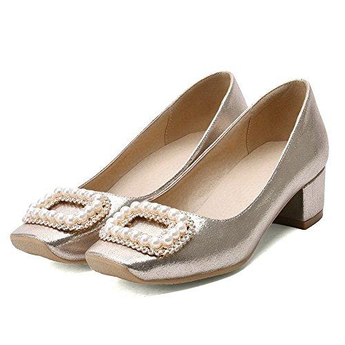 AllhqFashion Damen Quadratisch Zehe Mittler Absatz Ziehen auf Eingelegt Pumps Schuhe Golden