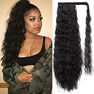 Stamped Glorious 22 Inch Long Corn Wave Ponytail Extension Magic Paste Heat Resistant Wavy Synthetic Wrap Around Ponytail Black Hairpiece For Women