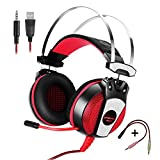 KOTION EACH GS500 Professional 3.5mm PC Stereo Gaming Headset, Bass Headphones, Comfortable Headband with in-line Mic, Integrated Microphone, LED Light for PS4 PC Computer Laptop Mobile Phones (Red)