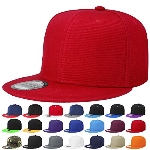 Falari Snapback Hat Cap Hip Hop Style Flat Bill Blank Solid Color Adjustable Size (One Size, 1pc Red)
