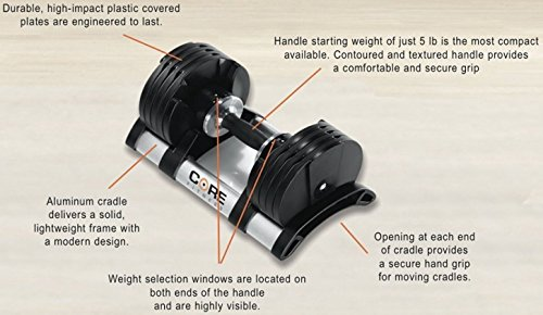 Core Home Fitness Adjustable Dumbbell Set & Stand By Space Saver - Dumbbells For Your Home - Weights - by Core Home Fitness (Image #4)