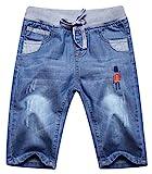 JWK Boys Drawstring Elastic Waist Print Washed Capri Denim Shotrs Jeans Denim Blue 4T