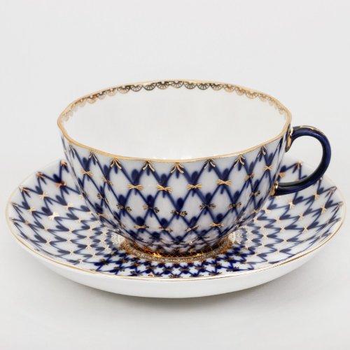 "Imperial / Lomonosov Porcelain Teacup w/ Saucer ""Tulip Cobalt Net"""
