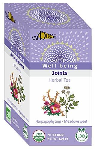 Valdena Bio Well Being Line Organic Herbal Tea, Harpagophytum, Meadowsweet and Peppermint Herbal Tisane Infusion, 20 Individual Tea Bag Count, Pack of 3, 60 Herbal Tea Bags in Total